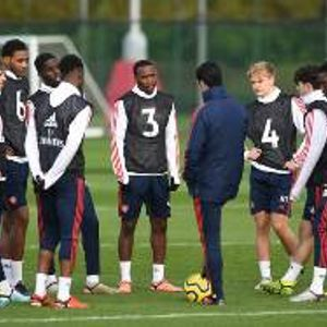 (Photo) Arsenal Coach Arteta Runs The Rule Over Five Nigerian Players Pre-Crystal Palace