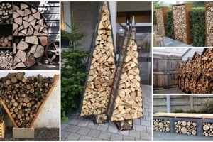 Venkovní nápady plné chytrých a kreativních způsobů skladování palivového dřeva!