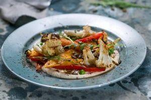Печени зеленчуци с крем от кашу
