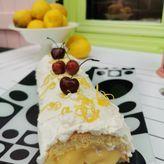 Ρολό παντεσπάνι με γέμιση κρέμας λεμονιού