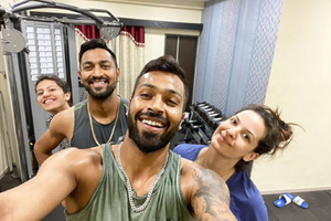 Hardik has a fun workout session with Natasa