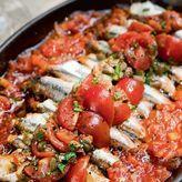 Γαύρος λαδορίγανη με πιπεριές και ντομάτα